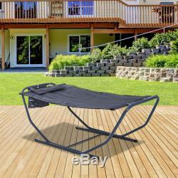 Outsunny Hammock Sun Lounger Bed Stand Steel Grey Garden Patio Outdoor