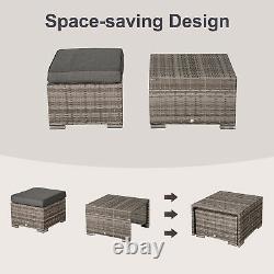 Outsunny Outdoor Rattan Garden Furniture 6 Seater Sofa & Coffee Table Set Grey