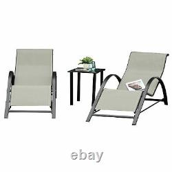 Outsunny Patio Textilene 3 Pieces Lounge Chair Set Garden Recliner with Table Grey