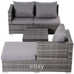 Outsunny Rattan Garden Sofa Set Storage Table Wicker Patio Lounger 4-Seater Grey