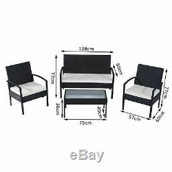 Outsunny Rattan Sofa Set Garden Furniture Outdoor Patio Wicker Weave Chair Table