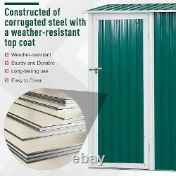 Outsunny Steel Garden Storage Shed Garden Stool Storage Sloped Roof Green