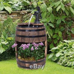Outsunny Wood Barrel Pump Garden Fountain Water Feature Flower Planter Stand New