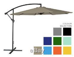 Parasol 3m Freestanding Banana Hanging Cantilever Garden & Patio Sun Umbrella