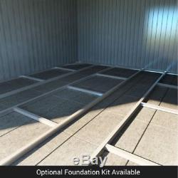 Partner Woodgrain Metal Garden Shed Heavy-Duty Galvanised Steel Apex Storage