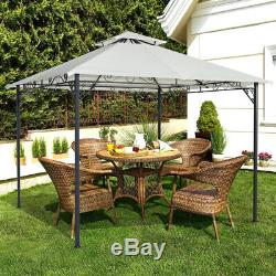 Patio Garden Metal Gazebo 3 x 3m Marquee Tent Canopy Sun Shelter Pavilion Ivory