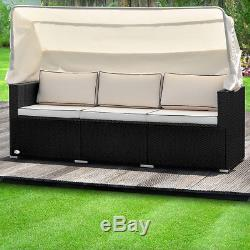 Poly Rattan Garden Conservatory Sofa Bench Furniture Bed Outdoor Patio Wicker