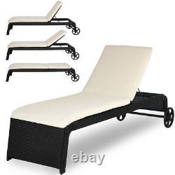 Poly Rattan Sun Lounger Garden Day Bed Cushion Outdoor Patio Terrace Recliner