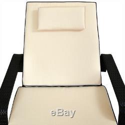 Poly Rattan Sunlounger Garden Day Sun Chair Bed Furniture Deck Outdoor Recliner