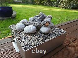Propane Outdoor Portable Gas Fire Pit Garden Heater + Logs Lava Rock Pebble 14kw