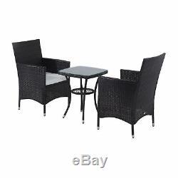 Rattan Furniture Bistro Set Garden Table Chair Patio Outdoor Conservatory Brown
