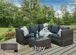 Rattan Garden Furniture'Casa Rattan' Grey Corner Sofa Outdoor Coffee Table Set