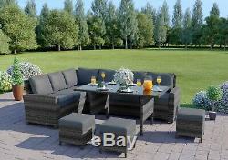 Rattan Garden Furniture Corner Sofa Dining Table Set Stools Bench FREE COVER