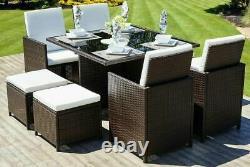 Rattan Garden Furniture Cube Set Chairs Table Outdoor Patio Rattan Black / Brown