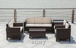 Rattan Garden Furniture Lounge Set Black Brown Outdoor Sofa Chair Corner Patio