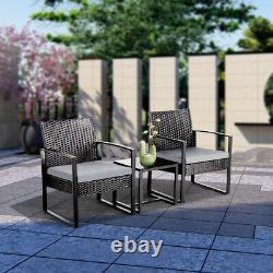 Rattan Garden Furniture Set 3 Pcs Wicker Patio Set Table Chairs WithCushion, Black