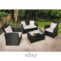 Rattan Garden Furniture Set 4 Piece Chairs Sofa Table Outdoor Patio Wicker