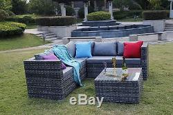 Rattan Garden Furniture Set 5 Seater Corner Sofa Set Patio Conservatory Grey