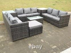 Rattan Garden Furniture Set Corner Sofa Table 10 Seater Outdoor Conservatory