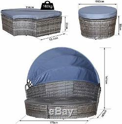 Rattan Round Sofa Canopy Coffee Table Garden Wicker Day Bed Grey Patio Furniture