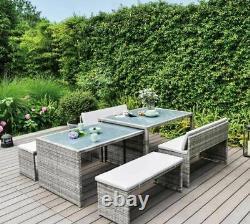 Rattan Space Saving Garden Furniture, 6 Piece, Fully Assembled, Versitle Seating