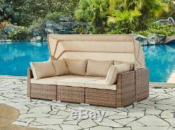 Rattan Sunbed Garden Furniture Set Outdoor Sofa Chair Bed Table Set Modular New