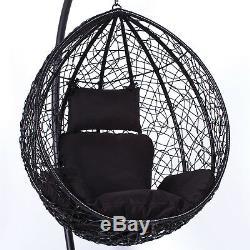 Rattan Swing Patio Garden Black Weave Hanging Egg Chair Amp Cushion Outdoor Indoor