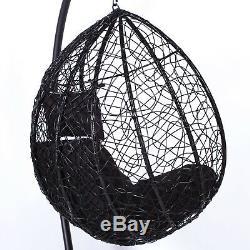 Rattan Swing Patio Garden Black Weave Hanging Egg Chair & Cushion Outdoor Indoor