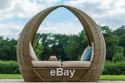 Rattan Tulip Daybed Lounger Garden Furniture Feature. Brown Weave