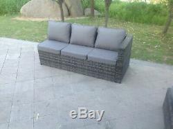 Rattan corner sofa dining set table ottoman footstools outdoor garden furniture