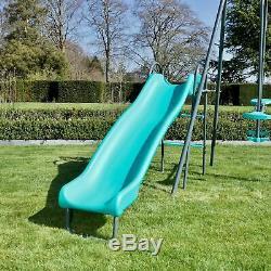Rebo Childrens Metal Garden Swing Set Double Swing, Glider + Slide