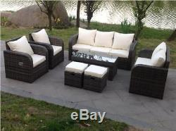 Recliner Rattan Wicker Conservatory Outdoor Garden Furniture Set Corner Sofa