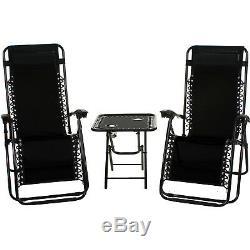 Reclining Sun Lounger Textoline Chair Folding Table Set Garden Outdoor Recliner