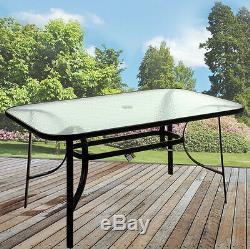Rectangular Glass Table Outdoor Dining Patio Garden Furniture Black Metal Frame