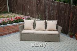 Rosen 7 Seater Rattan Garden Dining Table Sofa Set Outdoor Sand