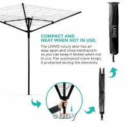 Rotary Airer 4 Arm Clothes Garden Washing Line Dryer 45M Folding Outdoor Spike