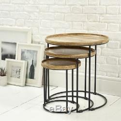 Round solid wood nest of 3 tables side end lamp table