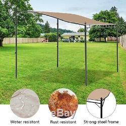 Santorini Metal Gazebo 2x2.5m Lean To Canopy Shelter, Garden Patio Sun Shade