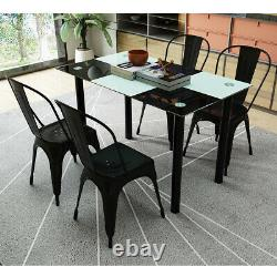 Set of 4 Tolix Style Metal Dining Chairs Black Industrial Home Garden Chairs UK