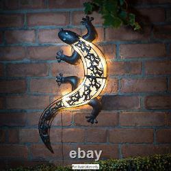 Solar Powered Bright LED Light Metal Gecko Garden Ornaments Decoration Wall Art