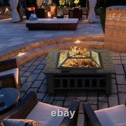 Square Fire Pit BBQ Grill Barbecue Fire Pit Patio Garden Heater Brazier Stove
