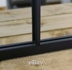 Square Window Pane Mirror/ Industrial Metal Mirror, Black-M38BK
