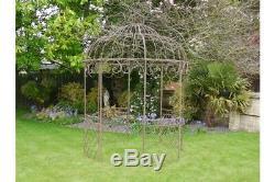 Stunning Metal Ornate Garden Gazebo/Pavilion/Wedding Aged Cream or Aged Brown