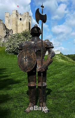 Suit of Armour Rusty Knight Metal garden statue, medieval rustic war style