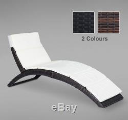 Sun Lounger Rattan Hommock Sun Bed Garden Folding Recliner Chair withCushion