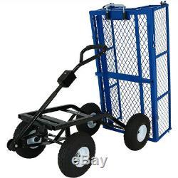Sunnydaze Steel Dump Utility Garden Cart 660 Pound Weight Capacity Blue
