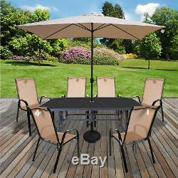 Table & Chairs Set Outdoor Garden Patio Cream Furniture Glass Table Parasol Base