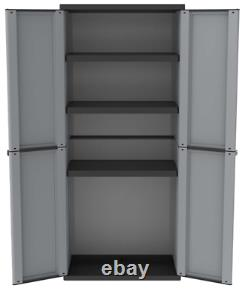 Tall Plastic Cupboard Storage Outdoor Garden Utility Shelves Cabinet Unit Shed