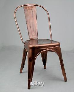 Tolix Inspired Metal Dining Chair Copper Bronze Industrial Garden Cafe Stackable