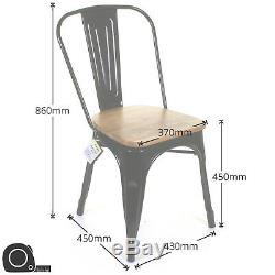 Tolix Style Vintage Metal Dining Bistro Chairs Garden Kitchen Industrial Cafe